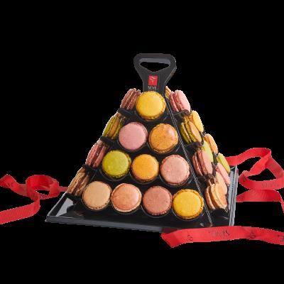 Macarons sucrés pyramide moderne